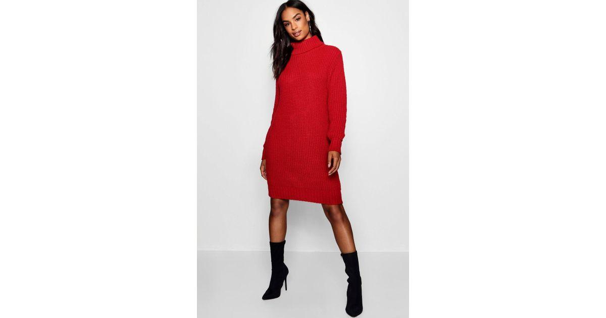 17102c7d70c8c Lyst - Boohoo Tall Soft Knit Roll Neck Jumper Dress in Red