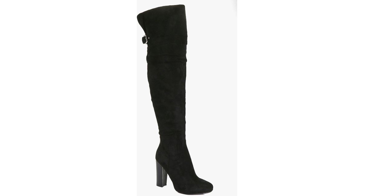 034af2efd87 Boohoo - Black Amy Block Heel Back Vent Over The Knee Boot - Lyst