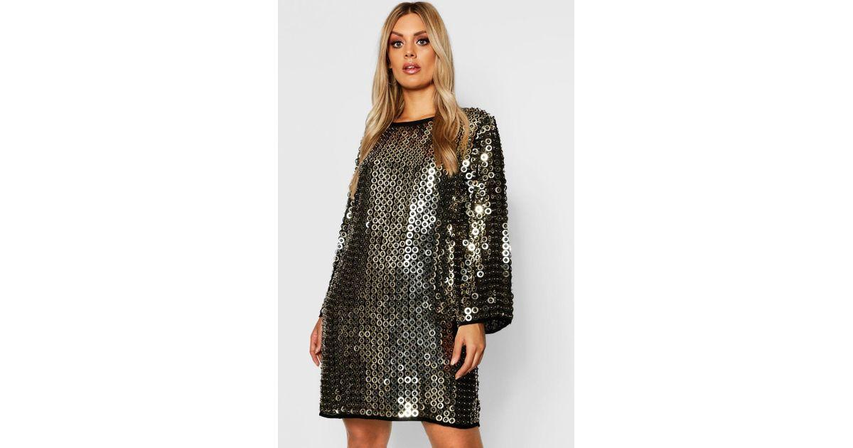 601f9dfeb164 Boohoo Plus Premium Beaded Shift Dress in Metallic - Lyst