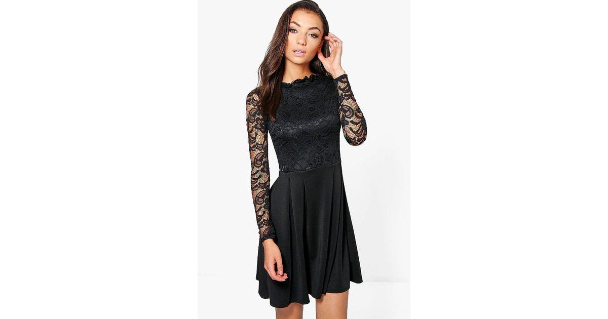 98c96c29ae008 Caroline Cap Sleeve Lace Skater Dress Boohoo  Lyst boohoo tabbie ...