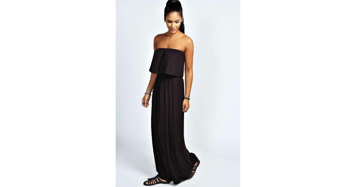 f57c3291027 Lyst - Boohoo Casey Bandeau Frill Top Maxi Dress in Black