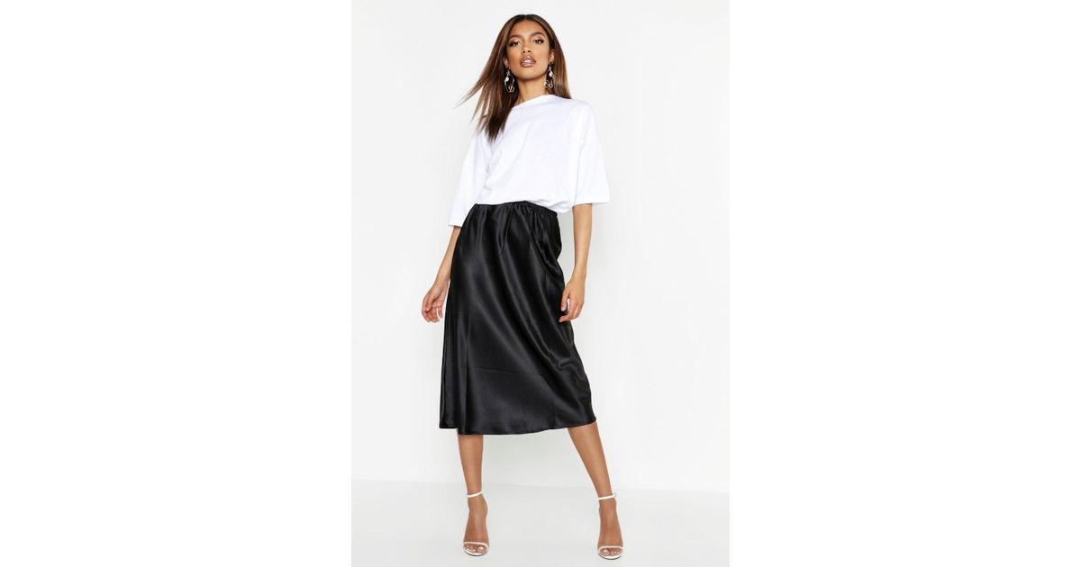 29a8303fb Lyst - Boohoo Satin Bias Cut Midi Skirt in Black