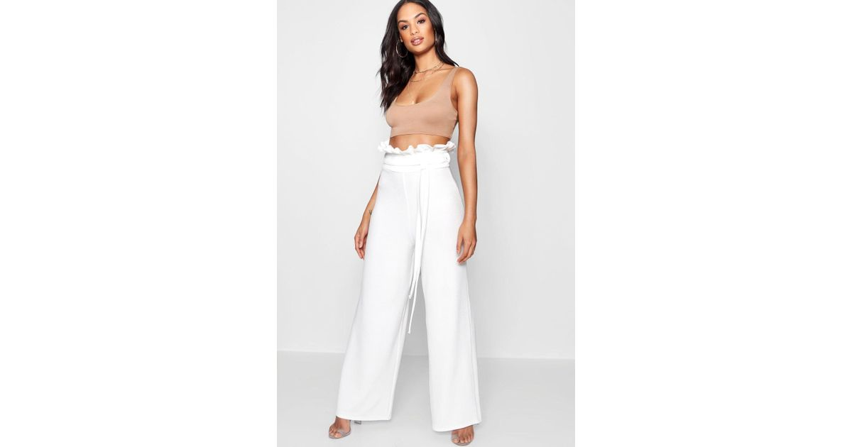 c12ce2b1f215 Boohoo High Waist Crepe Wide Leg Paperbag Trouser in White - Lyst