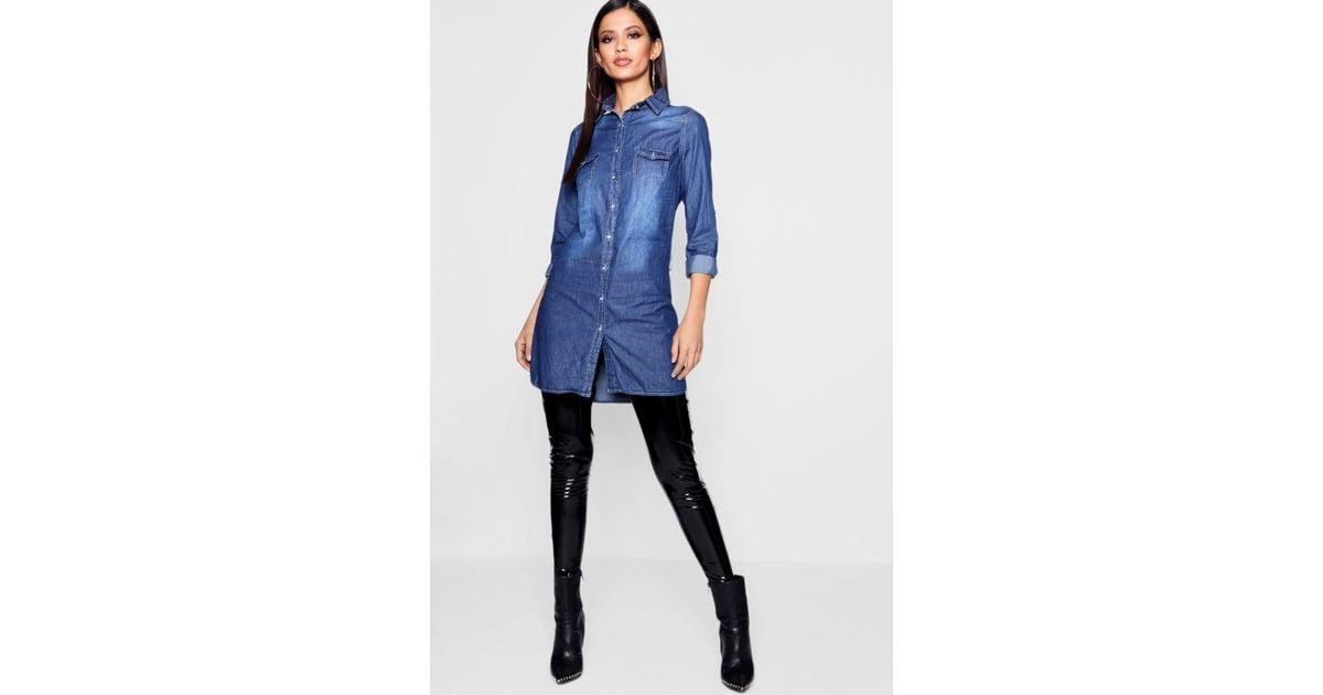 83790a04882 Boohoo Slim Fit Long Sleeve Denim Shirt Dress in Blue - Lyst