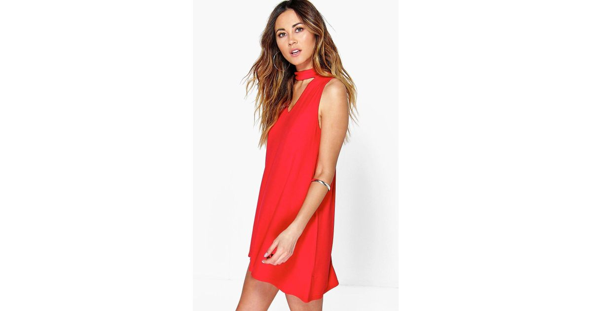 Boohoo Plunge Choker Shift Dress in Red - Lyst 10a944847