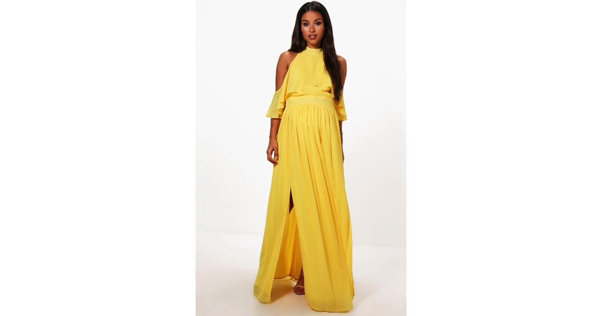 3c8db4507367 Boohoo Maternity Imogen Chiffon Frill Open Shoulder Maxi Dress in Yellow -  Lyst