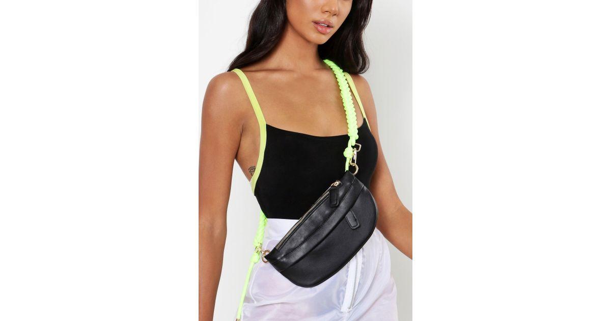 5d064e04f18 Boohoo Rope Belt Front Body Bum Bag - Lyst