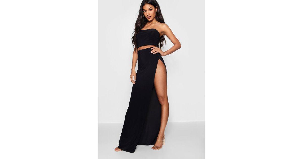 b21d9956a0 Boohoo Slinky Extreme Split Maxi Skirt in Black - Lyst