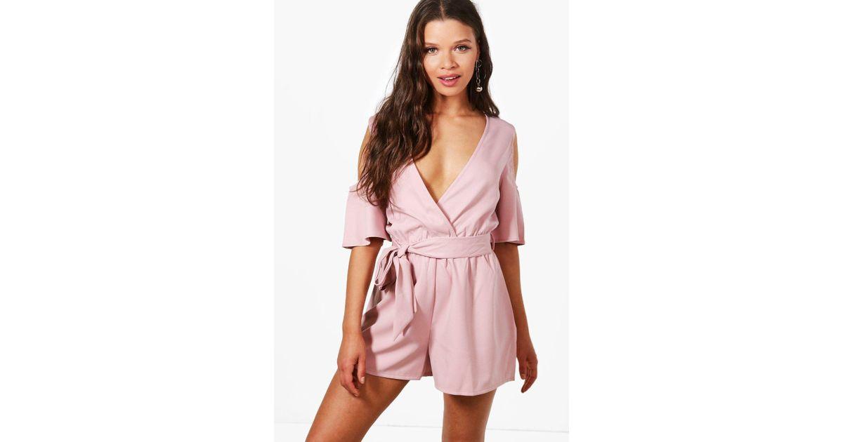 0bda11d26c Lyst - Boohoo Nancy Cold Shoulder Frill Sleeve Playsuit in Pink