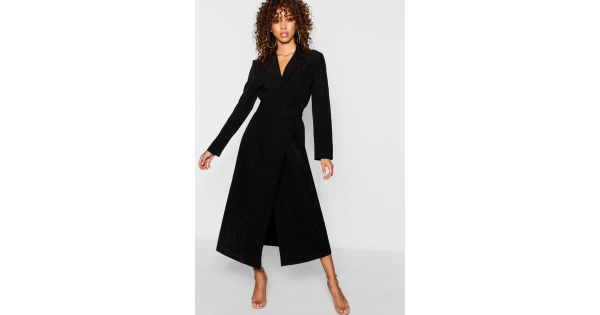 2853a479570 Boohoo Covered Belt Maxi Blazer Dress in Black - Lyst
