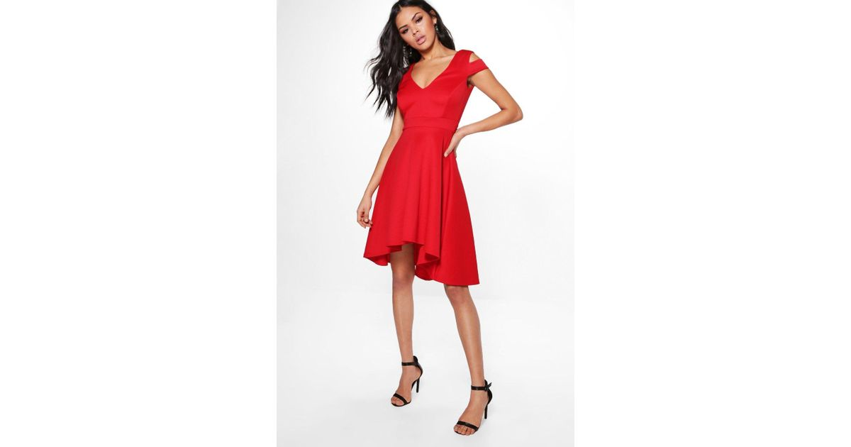 fa13e2f5af82 Lyst - Boohoo Clea Bardot Plunge Skater Dress in Red