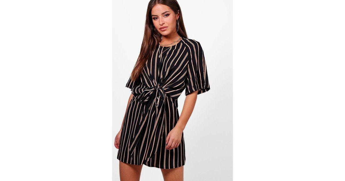 2694027a6f5d Boohoo Petite Knot Front Stripe Wrap Dress in Black - Lyst