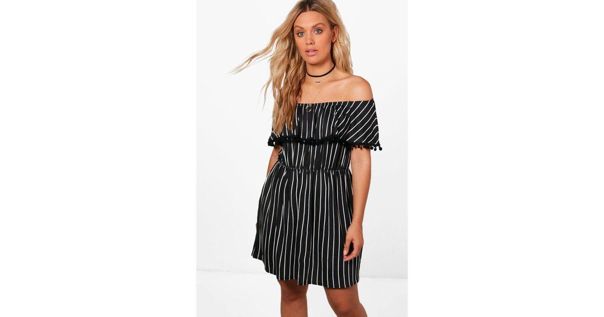a31a8769631d Lyst - Boohoo Plus Kirsten Pom Pom Trim Stripe Bardot Dress in Black