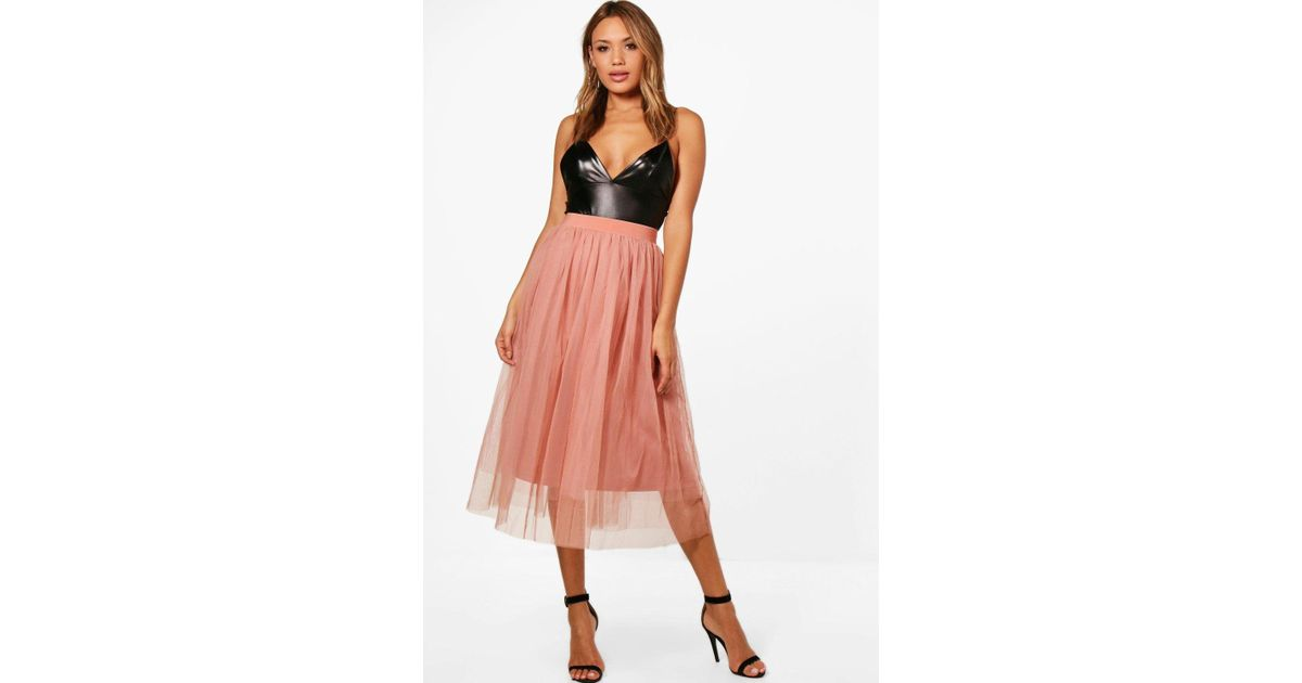 a43d08055c Boohoo Boutique Full Tulle Midi Skirt - Lyst
