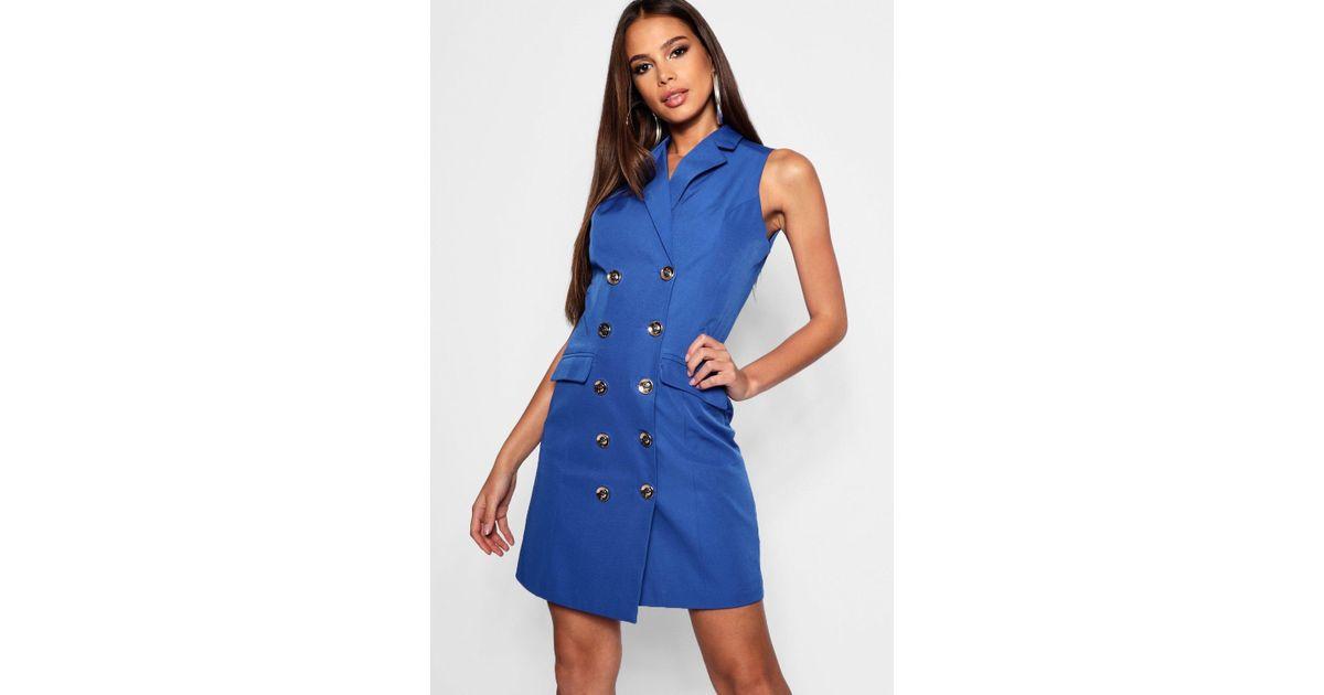 6e29d8989e365 Boohoo Tall Sleeveless Blazer Dress in Blue - Lyst