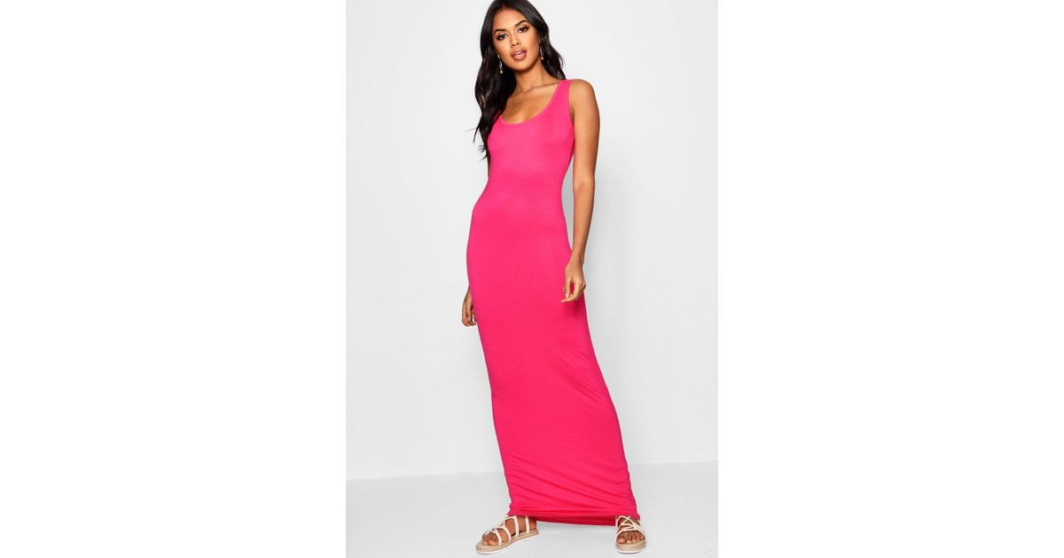 752a20c65a4 Lyst - Boohoo Sandy Scoop Neck Maxi Dress in Pink