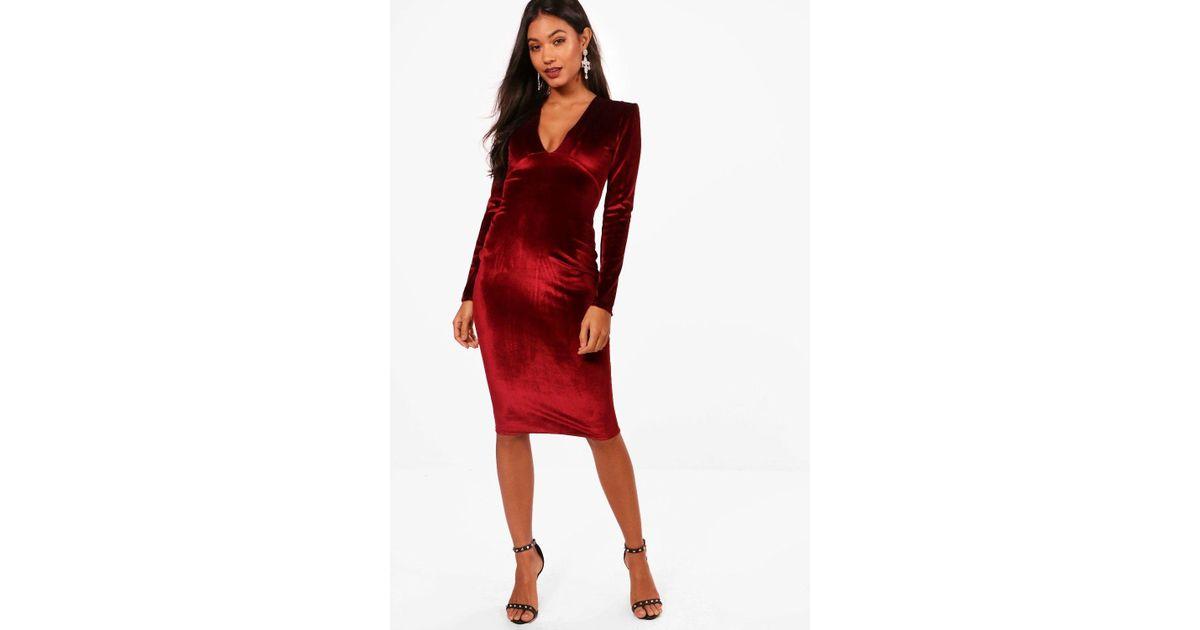 Lyst - Boohoo Velvet Plunge Neck Midi Dress in Red 555ebbf84