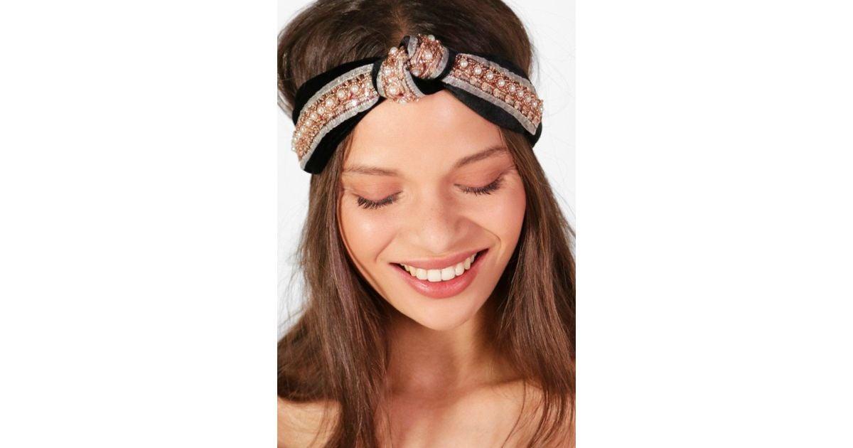 Boohoo - Black Ava Twist Knot Embellished Turban Headband - Lyst a484b6806c4