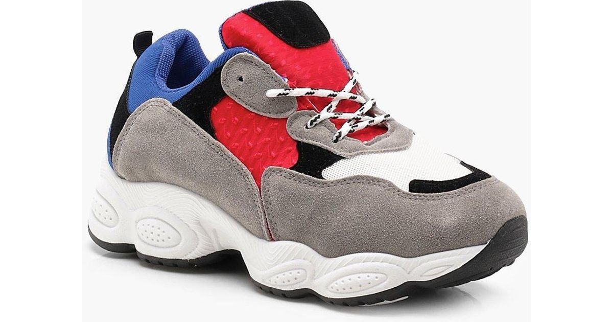 detailed look 5308e ce425 Boohoo - Red Chunky Sole Trainers - Lyst