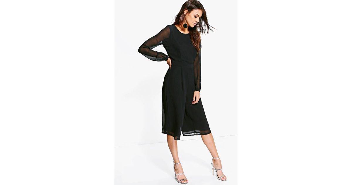 03ab345b5c3 Lyst - Boohoo Cora Long Sleeve Culotte Jumpsuit in Black