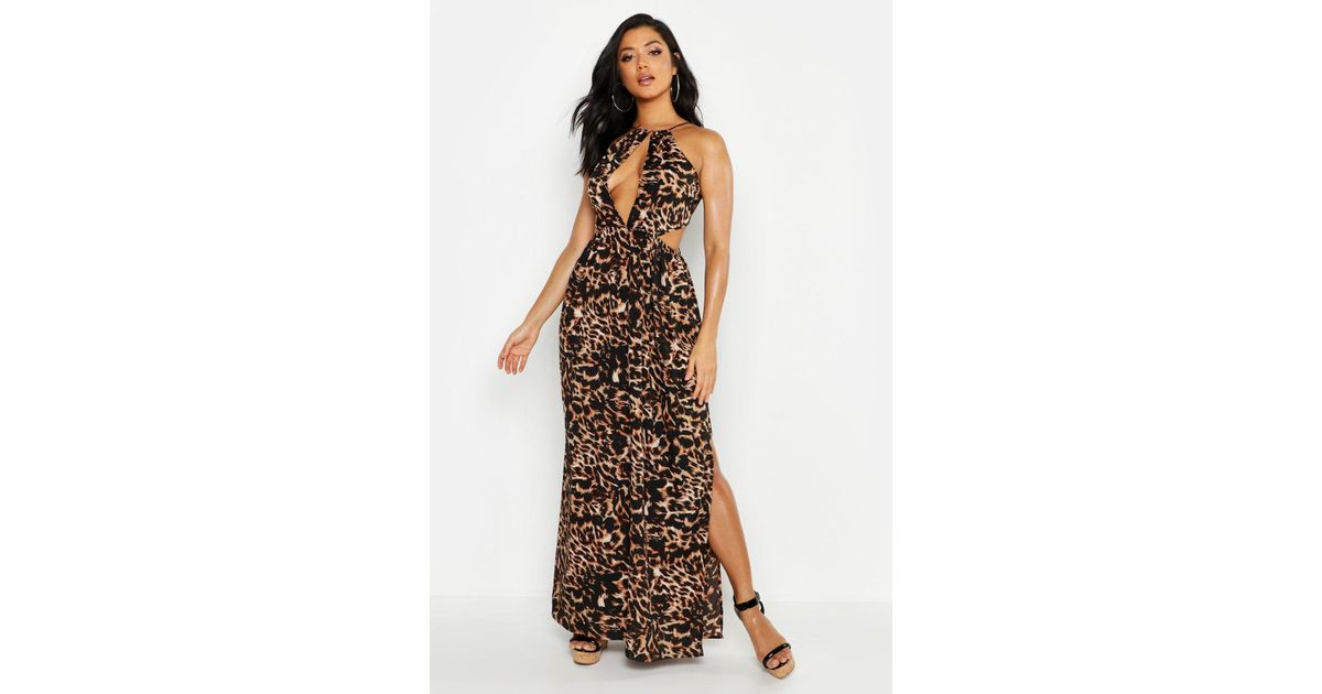 6722d1c1e98d Lyst - Boohoo Leopard Cut Out Maxi Beach Dress in Brown
