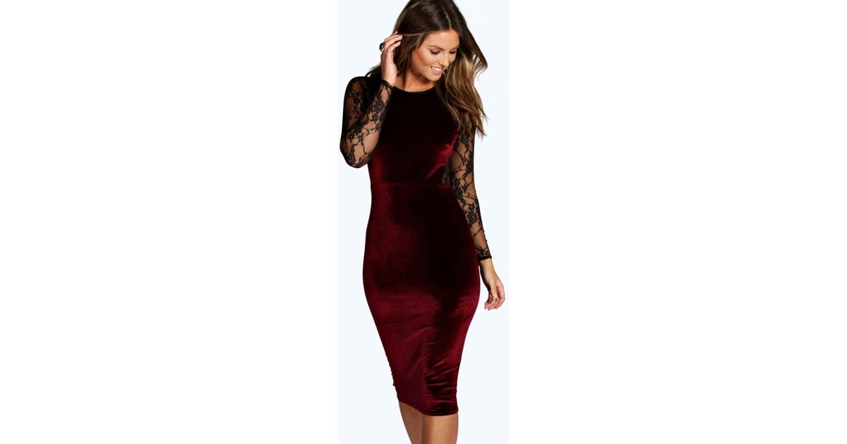 8e2476b9045 Boohoo Shea Velvet & Lace Long Sleeve Bodycon Dress - Lyst