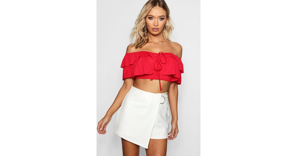 428cad7efb8196 Boohoo Bardot Ruffle Detail Lace Up Crop Top in Red - Lyst