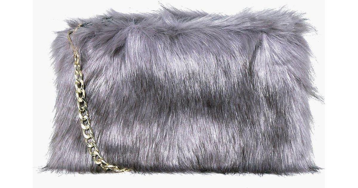 Boohoo Mia Faux Fur Cross Body Bag in Gray - Lyst cebee6586b1ed