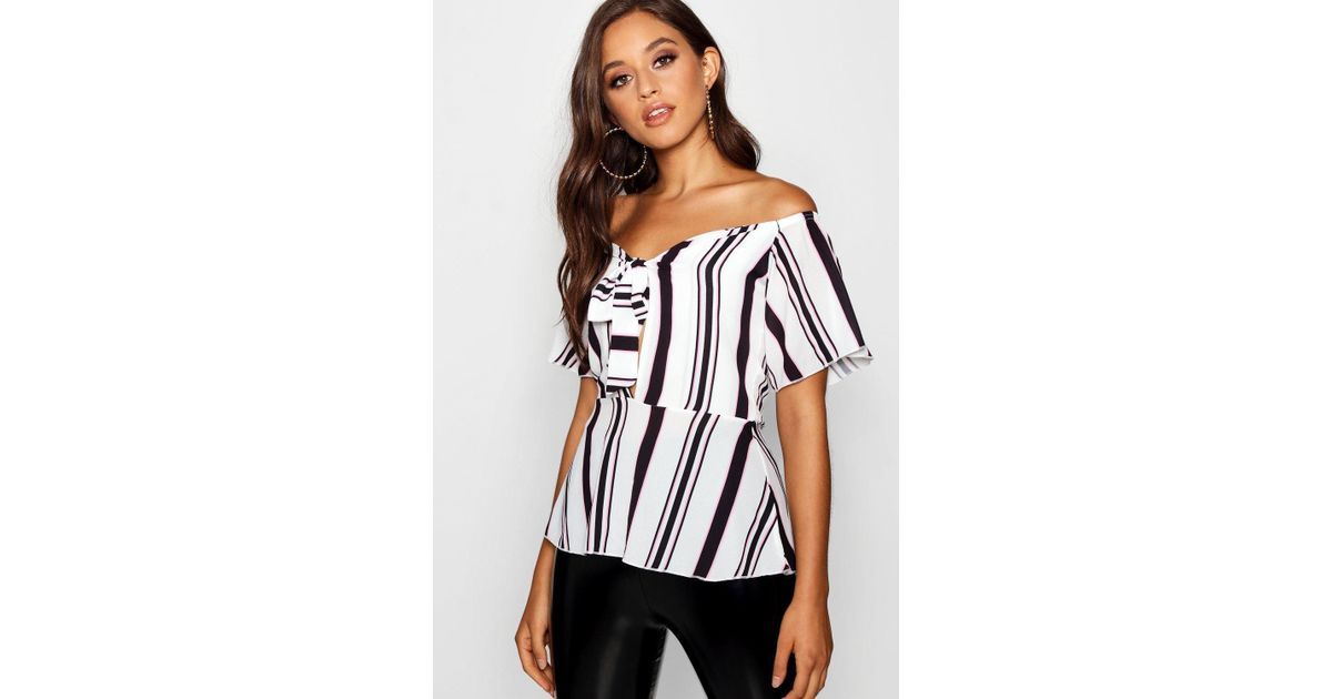 e1a0ea5829e2b6 Lyst - Boohoo Tie Front Peplum Stripe Woven Top in Pink