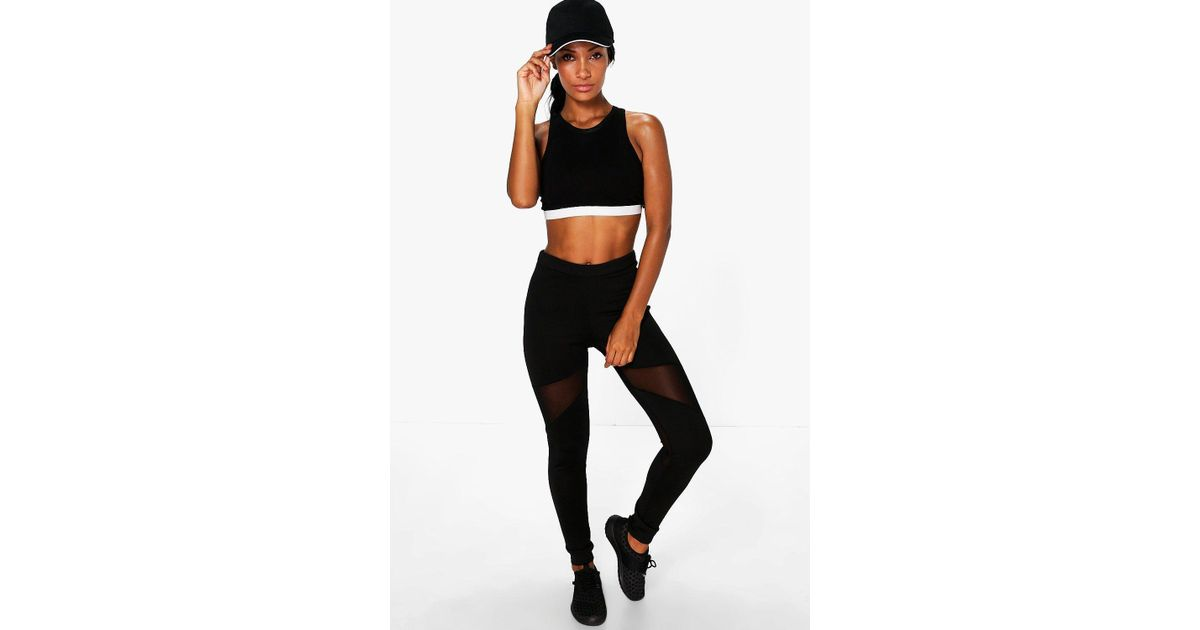 d02f5a9ffad7 Lyst - Boohoo Emma Fit Basic Mesh Panel Legging in Black - Save 46%