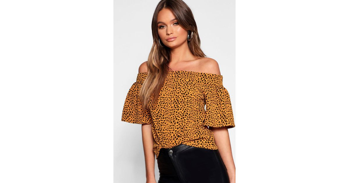 033fa7b7ce40e Boohoo Animal Print Off The Shoulder Top in Brown - Lyst