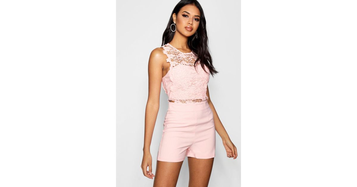 4c6ce1eb13 Lyst - Boohoo Crochet Playsuit in Pink - Save 20%
