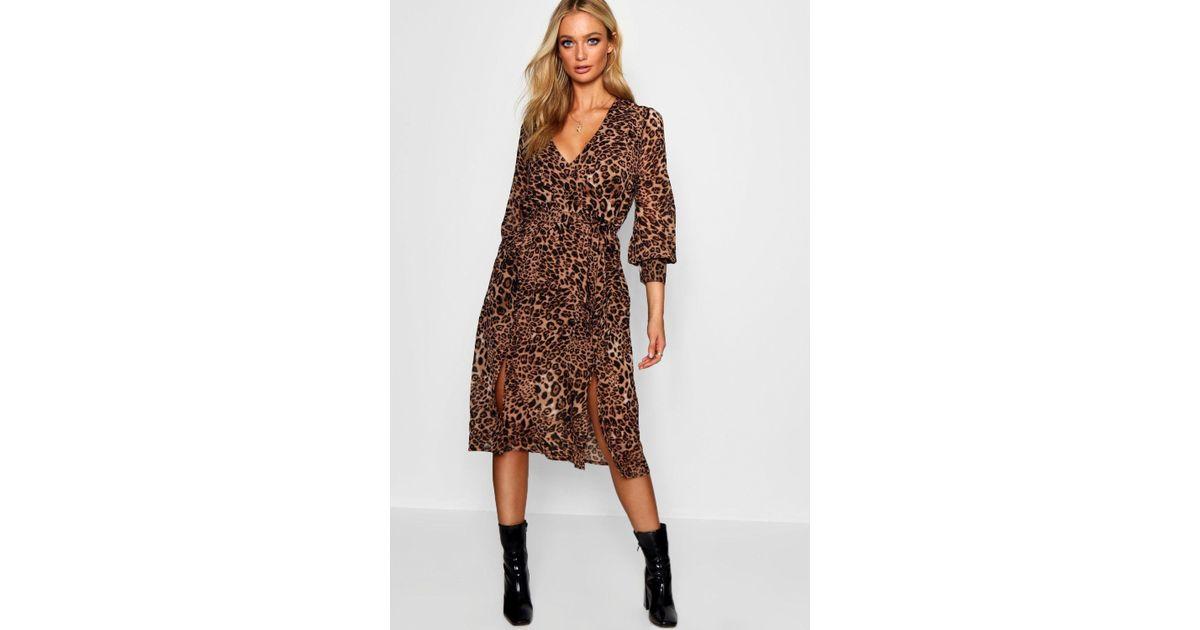 f385069349d3 Boohoo Wrap Front Leopard Print Midi Dress in Black - Lyst