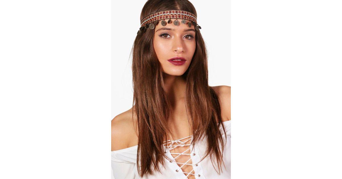 Lyst - Boohoo Este Boho Coin Gypsy Headband bab04f3007f
