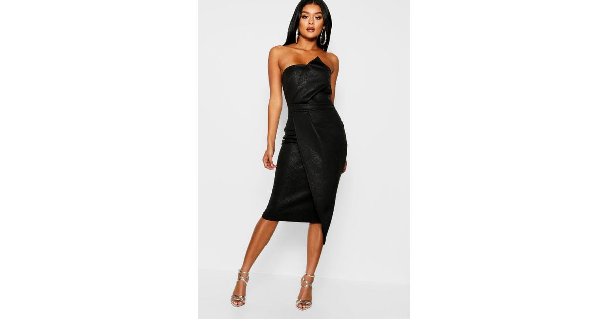 cc782d988b Lyst - Boohoo Animal Print Bandeau Wrap Midi Dress in Black