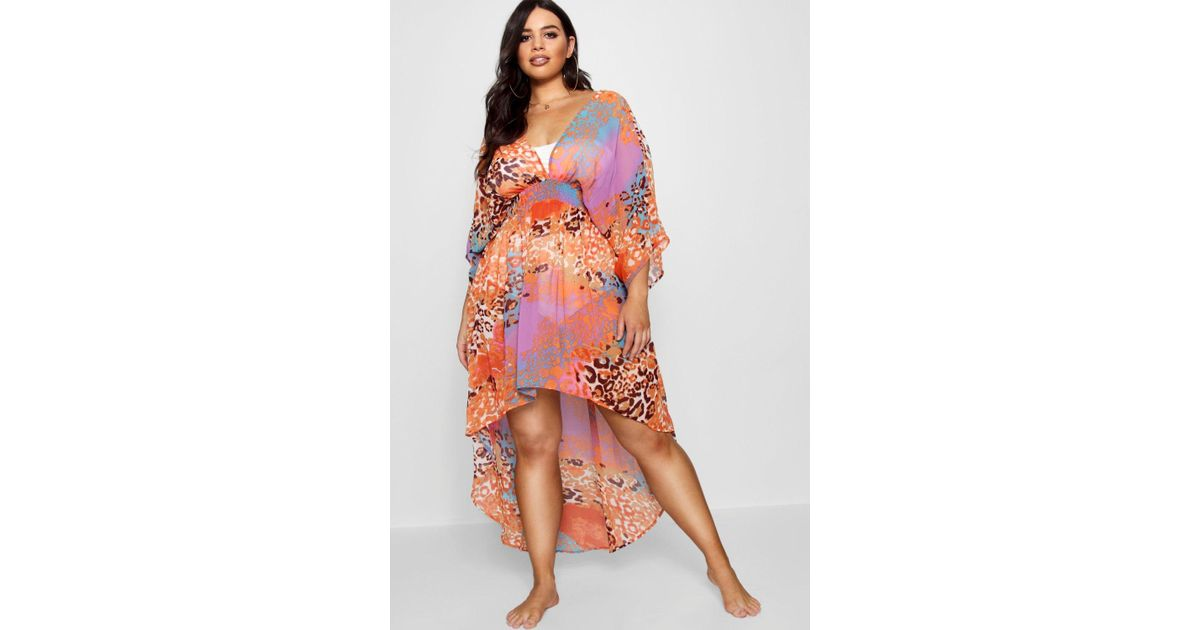 7390c112db16 Lyst - Boohoo Plus Animal Print Kimono Kaftan in Orange