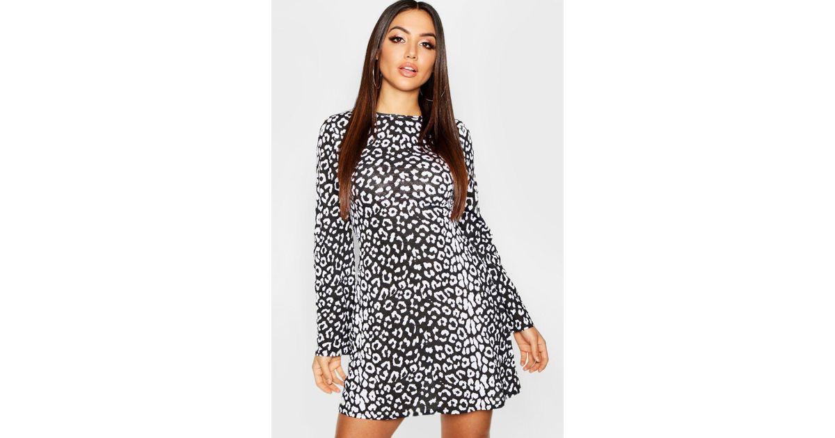 cc98093738 Boohoo Animal Print Flared Sleeve Skater Dress in Black - Lyst