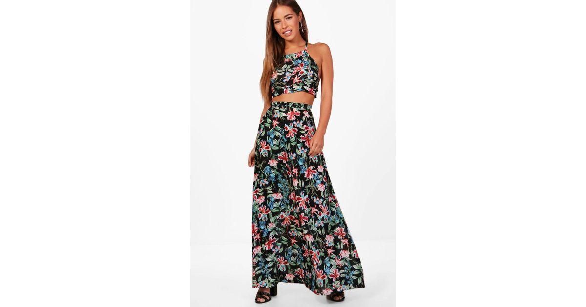 e8304712591 Lyst - Boohoo Petite Imogen Halter Neck Top Maxi Skirt Co-ord in Black