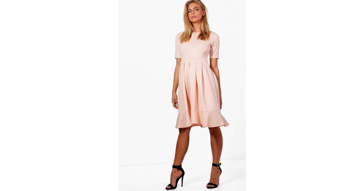 8a4a37192fdb6 Boohoo Elizabeth Full Shirt Scuba Swing Dress in Pink - Lyst