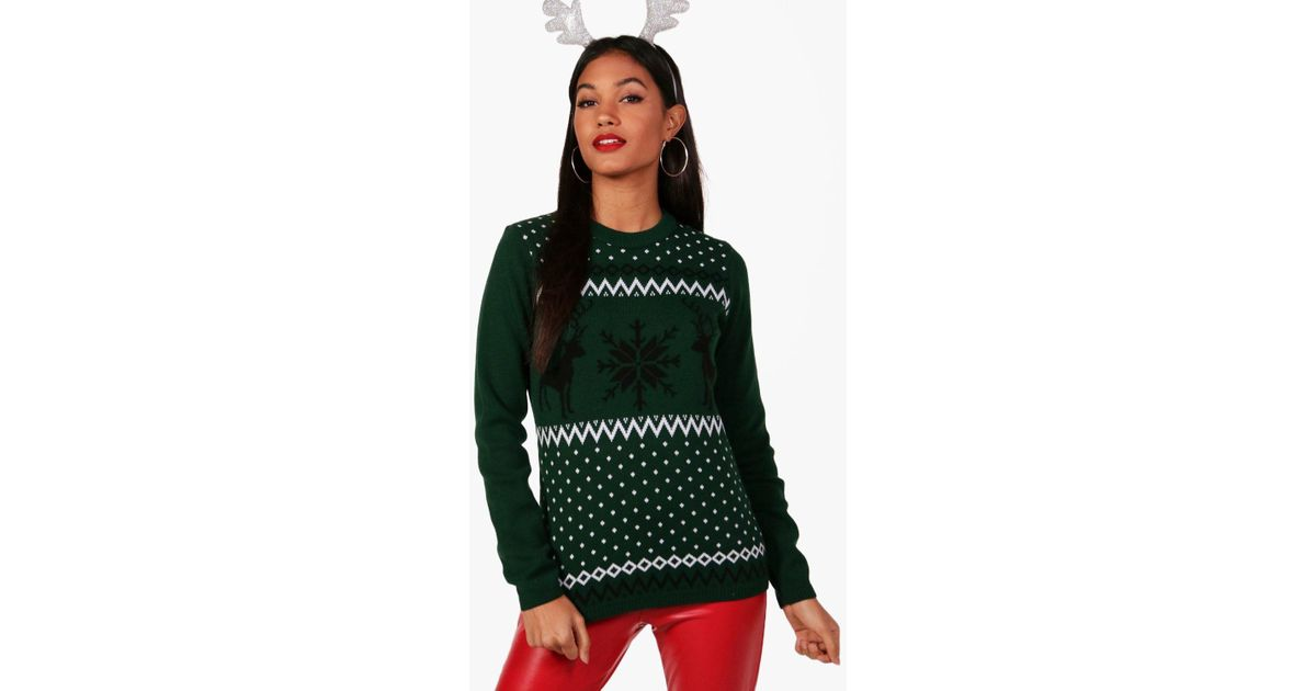 Boohoo Rachel Fairisle Christmas Jumper in Green | Lyst