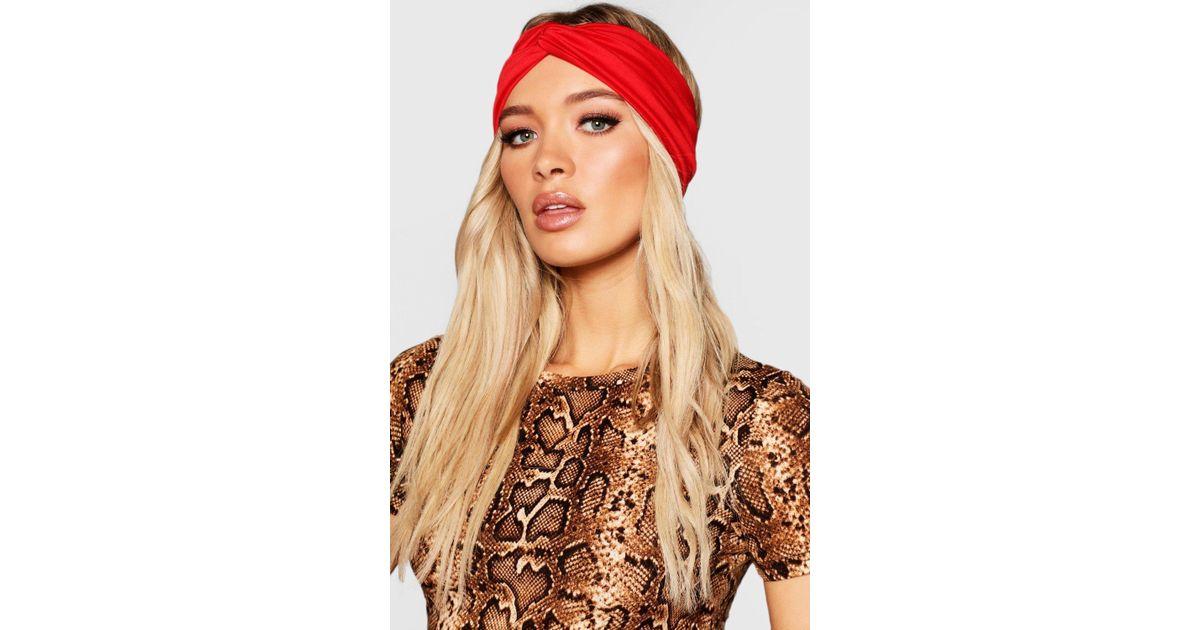 Lyst - Boohoo Jersey Twist Knot Headband in Red 850934c3f08