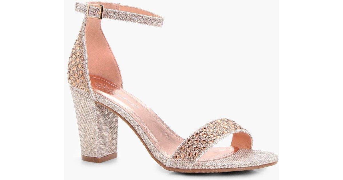 b6fe72afdf8a Lyst - Boohoo Felicity Block Heel 2 Parts in Pink