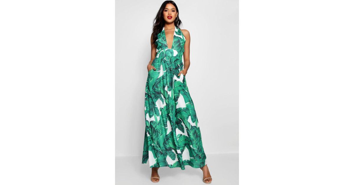 f87d4ce45d63 Boohoo Maggie Palm Print Plunge Halterneck Maxi Dress in White - Lyst