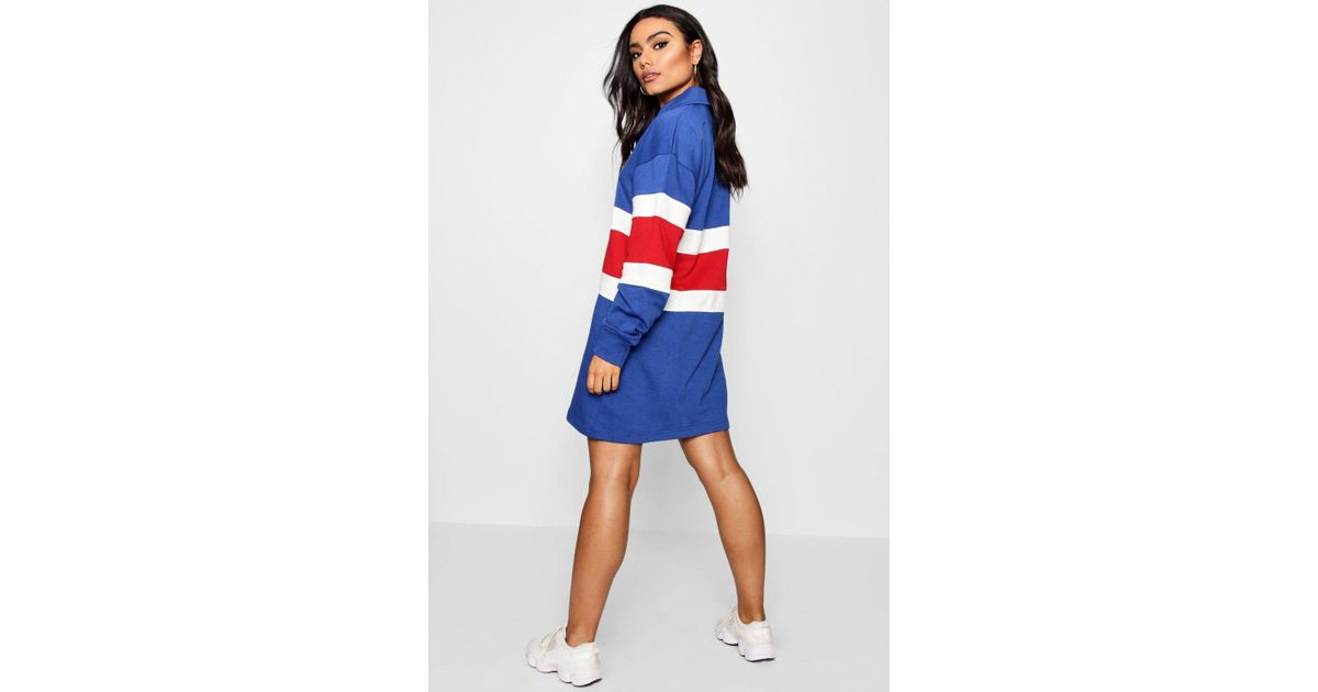 d73277ccf92e Boohoo Oversized Stripe Rugby Shirt Dress in Red - Lyst