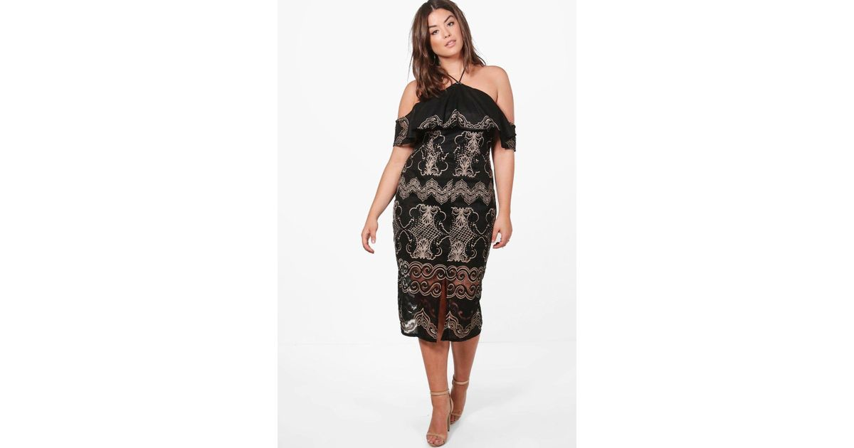ac50755c2c2d5 Lyst - Boohoo Plus Dahlia Crochet Lace Ruffle Detail Midi Dress in Black