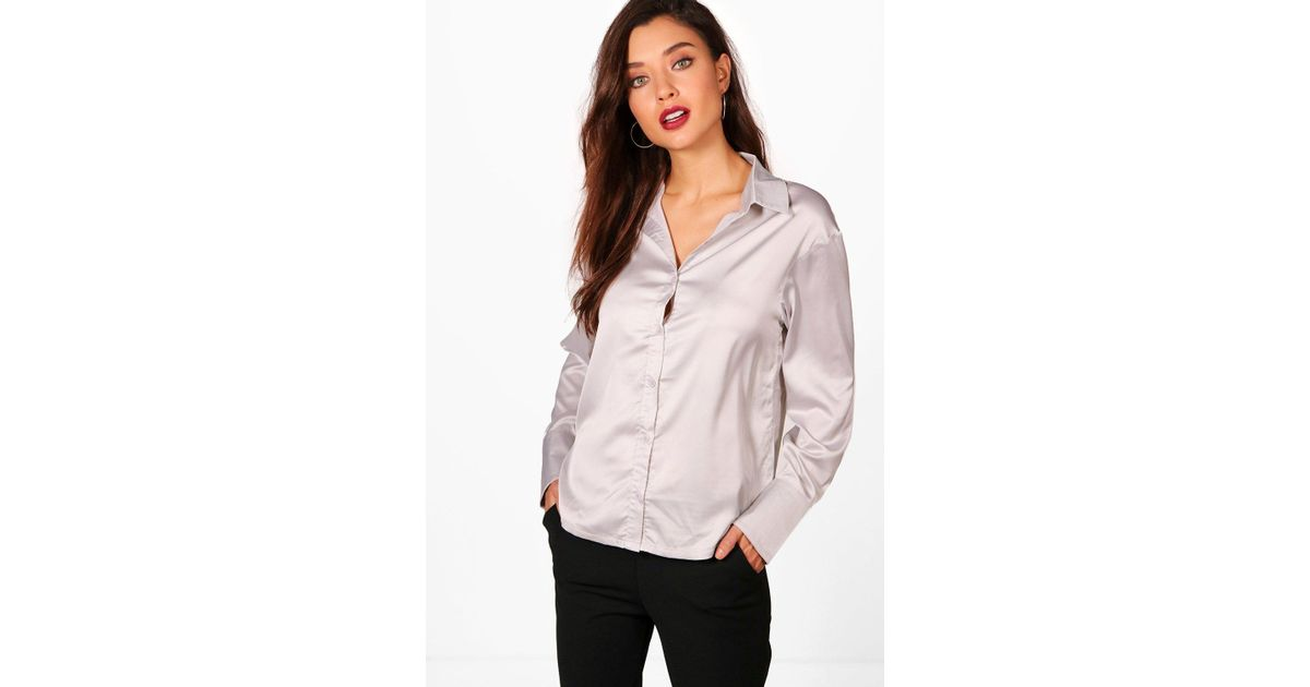 a5ea50b8c7 Lyst - Boohoo Margot Premium Satin Shirt in Metallic