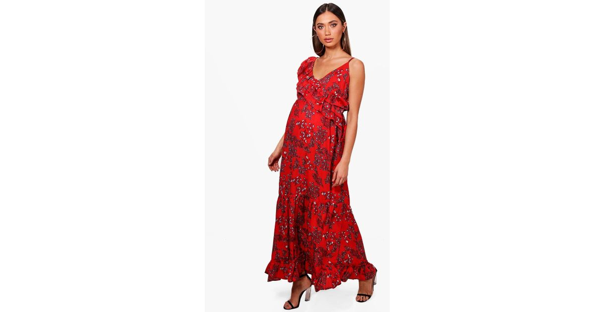41afb33cc303 Boohoo Maternity Floral Ruffle Maxi Dress in Red - Lyst