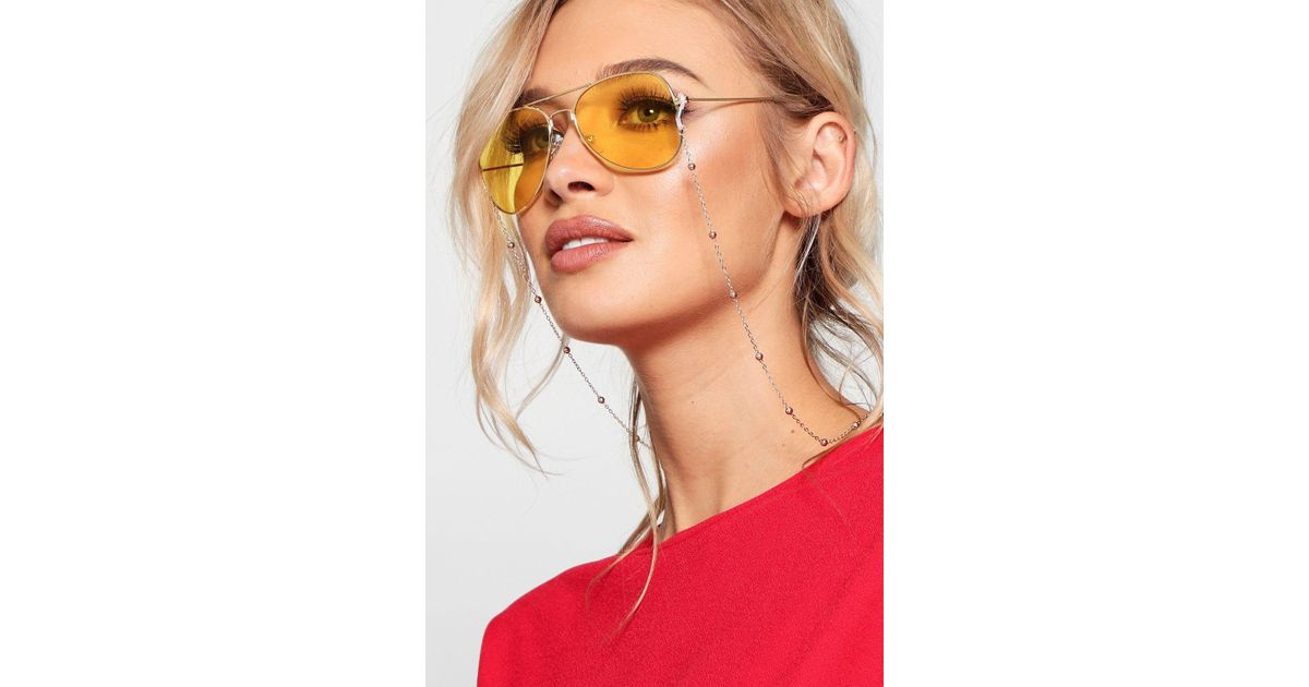 c0ebab79a4 Lyst - Boohoo Katie Yellow Lens Aviators in Yellow