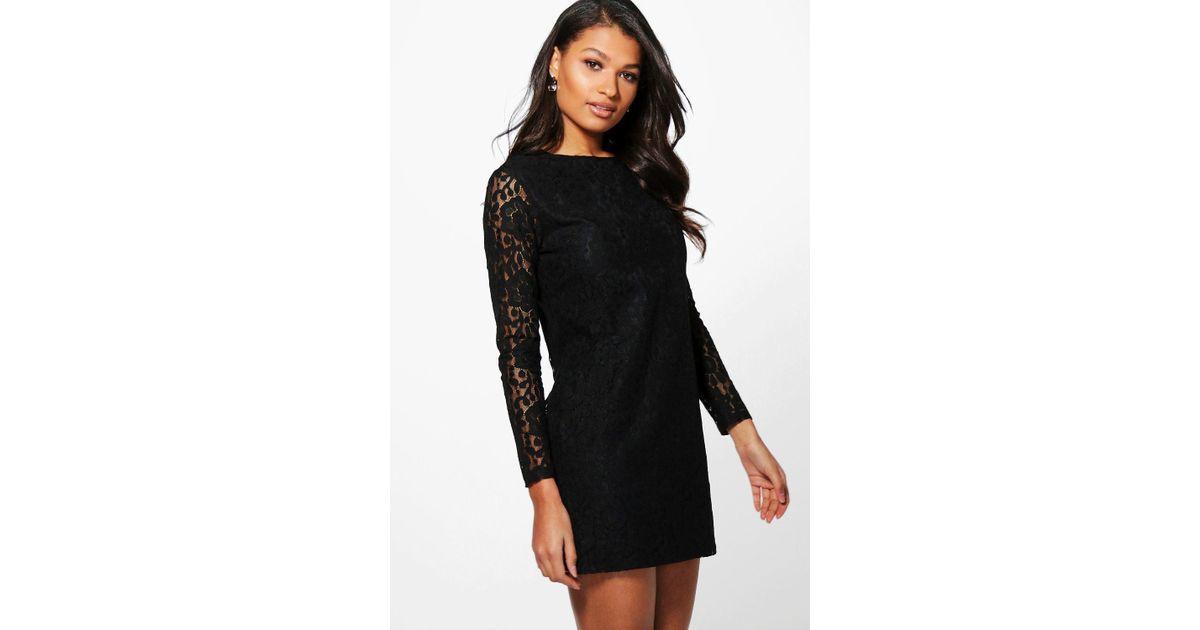 Lyst Boohoo Ismita Lace Long Sleeve Shift Dress In Black