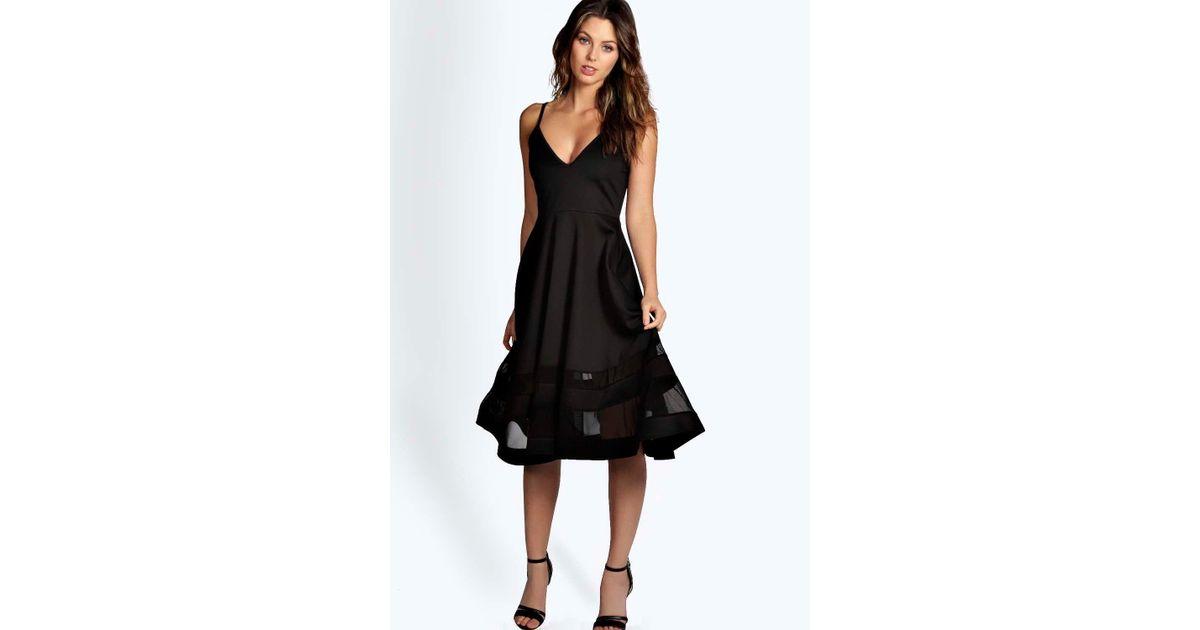 dc7e7a4aaacba Lyst - Boohoo Celina Strappy Double Mesh Midi Skater Dress in Black